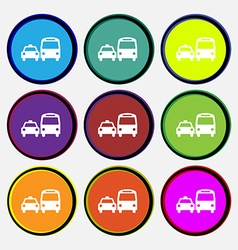 taxi icon sign Nine multi colored round buttons vector image