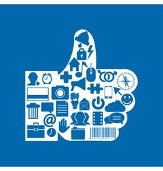 thumb up icon on blue background Eps10 vector image