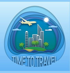 time to travel emblem design sea resort town on vector image