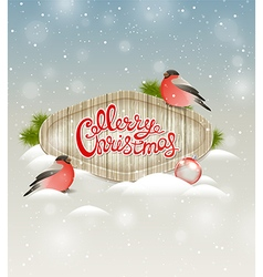 Two bullfinch and greeting inscription vector image