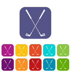 two golf clubs icons set flat vector image