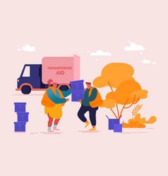Volunteers team unload help boxes for refugees vector