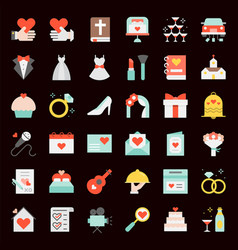 wedding elements flat icon vector image