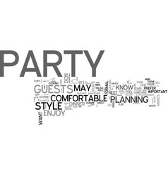 What s your party style text word cloud concept vector