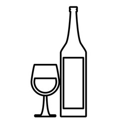 wine cup and bottle vector image