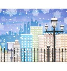 Winter city background vector