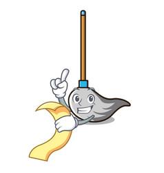 With menu mop mascot cartoon style vector