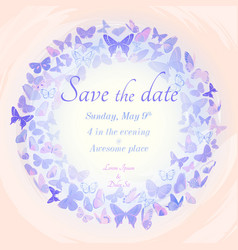 Wreath of butterflies invitation template vector