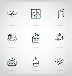Year icons set with greeting email butterfly knot vector