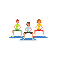 Young girls in sportswear doing squat exercise vector