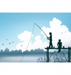 fishing scene vector image vector image