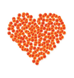 heart made of red caviar vector image vector image