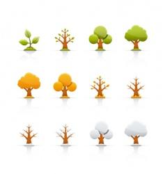 icon set tree four seasons vector image vector image