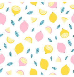 lemons doodle pattern vector image vector image