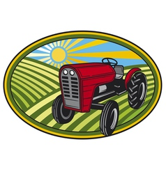 rural landscape with fields and tractor vector image vector image