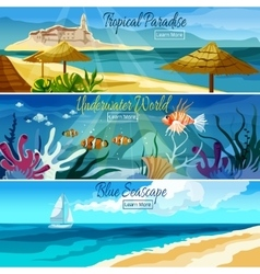 Seascape Banner Set vector image