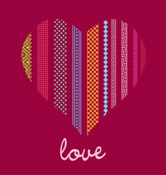 color ornamental heart post card vector image