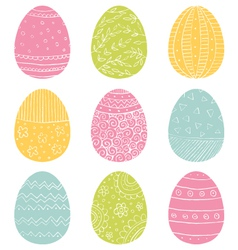 Easter Eggs Hand Drawn Doodle vector image