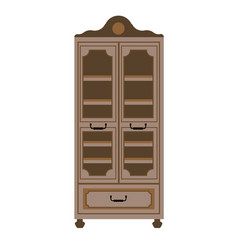 empty cupboard in vintage style isolated on white vector image