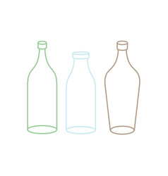 empty glass bottle set transparent flask on white vector image