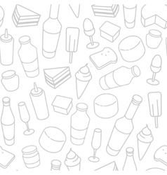 Food thin line icon seamless pattern vector image vector image