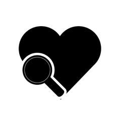 heart cartoon and magnifying glass icon vector image