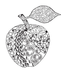 Monochrome Apple zentangle style for coloring book vector image vector image