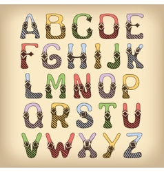 Sketch alphabet font colored vector image vector image