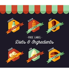 Grocery shop diet food labels for healthy eating vector image