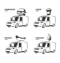 ice cream hamburger hot dog coffee trucks vector image vector image