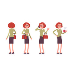 set of young female office worker in standing vector image