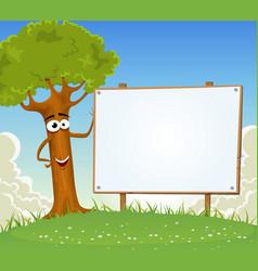 spring tree holding blank billboard vector image