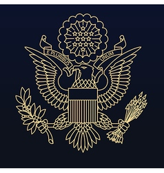 US passport seal gold on blue vector image