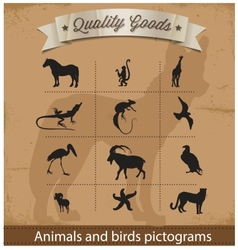 animals and birds pictogram symbols set vector image vector image