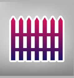 fence simple sign purple gradient icon on vector image