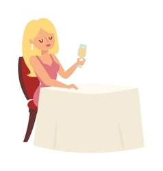 Girl restaurant vector image