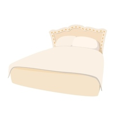 Luxury double bed cartoon icon vector image