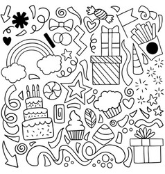 04-08-032 hand drawn party doodle happy birthday vector