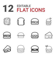 12 cheeseburger icons vector image