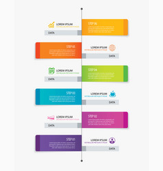 6 rectangle tab timeline infographic options vector