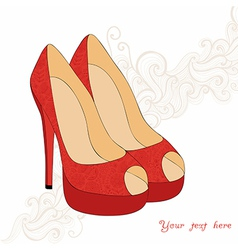 A high-heeled vintage shoes with flowers fabric vector