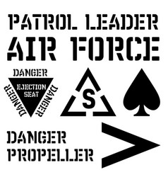 Armed forces stencil sign collection vector