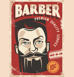 barber shop retro poster design vector image