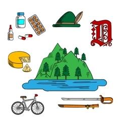 Bavarian and german travel symbols vector