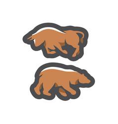 bear and bull financial exchange cartoon vector image