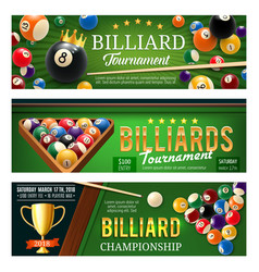 Billiards sport game balls and cues vector