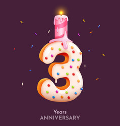 birthday cake font number 3 with candle three vector image