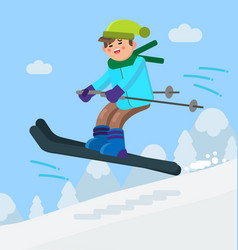 Boy skiing downhill vector