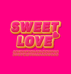 bright card sweet love with cake heart vector image