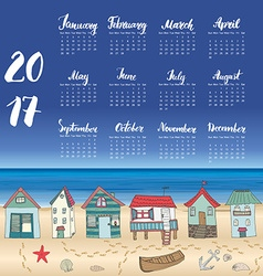 Calendar 2017 Year One Sheet Hand Drawn Beach Huts vector